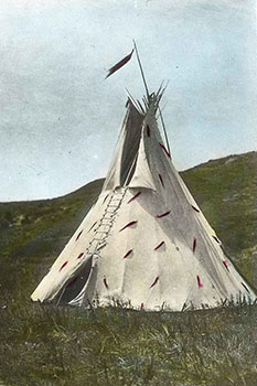 image of tipi on the plains made from a glass slide.