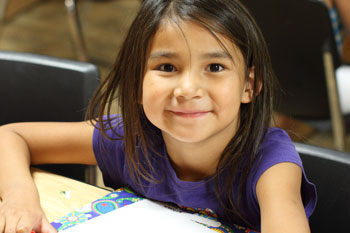 Lakota girl focusing on her school work.